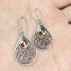 bali silver earrings with antique finish and 18K gold ornament