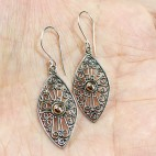 Bali Silver Filigree Drop Earrings with gold ornament