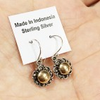 Bali Silver Flower Drop Earrings with antique finish and 18K Gold