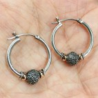 Bali Silver Beaded Hoop Earring with antique finish and 18K gold