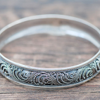 Bali Silver  Bracelets With Ethnic Ornament