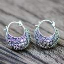 Silver Hoop Earring With Bali Ethnic Ornament